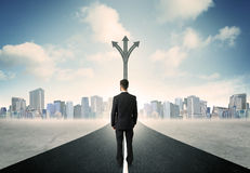 Businessman standing on the road Stock Photo