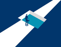 Businessman standing by shaped hole in road. Concept business il. Lustration. Vector business abstract Stock Photos