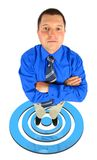 Businessman in standing on shooting mark Stock Photo
