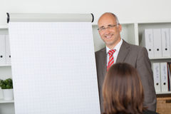 Businessman standing at the side of flipchart Royalty Free Stock Photography