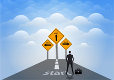 Businessman is standing with sign of easy vs hard way on the highway Royalty Free Stock Image