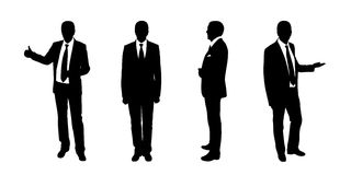 Businessman standing silhouettes set 1 Royalty Free Stock Images