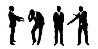 Businessman standing silhouettes set 2 Stock Photos
