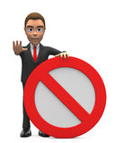 Businessman standing with stop sign Royalty Free Stock Image