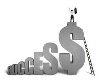 Businessman standing on. SUCCESS concrete 3D word with wooden ladder in white background Stock Photos