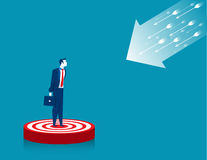 Businessman standing on target Royalty Free Stock Photos