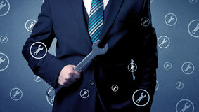 Businessman standing and thinking Stock Photography