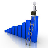 Businessman standing on top of chart with ladder. 3d businessman is standing on top of a blue chart that has a ladder Stock Images