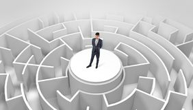 Businessman standing on the top of a maze royalty free stock photo