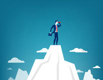 Businessman standing on top of the mountain. Using telescope looking for success. Concept business illustration. Vector flat Stock Photo