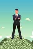 Businessman Standing on Top of Pile of Money Royalty Free Stock Photography
