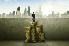 Businessman standing on top of stack of books facing the city stock photos