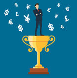 Businessman standing on the trophy cup with money symbol icon vector, business concept illustration Stock Photo