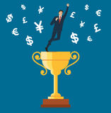 Businessman standing on the trophy cup with money symbol icon vector, business concept illustration Royalty Free Stock Images
