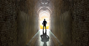 Businessman standing at tunnel, business strategy Royalty Free Stock Images