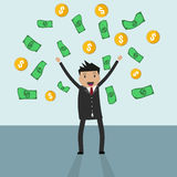 Businessman standing under falling raining money Royalty Free Stock Photos