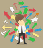 Businessman standing under many arrows. VECTOR Royalty Free Stock Photo