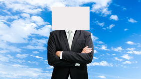 Businessman standing white paper face holding front of head Stock Photos