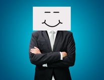 Businessman standing white paper happy smile face holding front Stock Photos