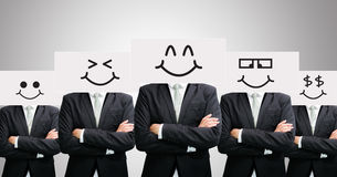 Businessman standing white paper happy smile face holding front Royalty Free Stock Photo