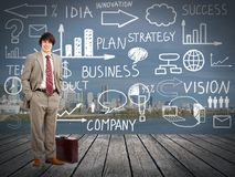 Businessman standingnear Innovation plan. Royalty Free Stock Photos