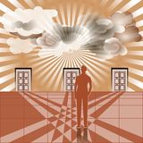 Businessman stands in front of three closed doors royalty free illustration