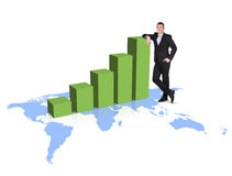 Businessman stands near growth up graph on the map Stock Images