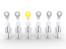 Businessman stands out of others with lightbulb Royalty Free Stock Images