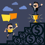 Businessman stands on pedestal cup Royalty Free Stock Photo