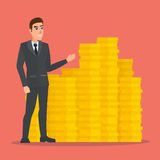 Businessman stands proudly near the pile of gold coins. A lot of money. Business cartoon concept. Vector creative color illustrations flat design in flat Stock Photography