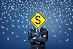 A businessman stands under a rainfall of dollar banknotes with a dollar road sign instead of his head. royalty free illustration