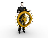 Businessman Stands Up For A Ship Steering Wheel Stock Photography