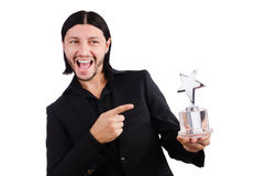 Businessman with star award. Isolated on white Royalty Free Stock Image