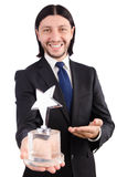 Businessman with star award isolated. On white Stock Photography