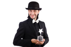 Businessman with star award isolated. On white Royalty Free Stock Photography