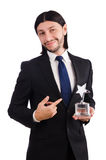 Businessman with star award isolated. On white Stock Images
