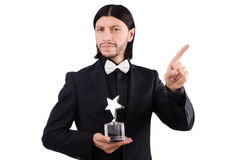 Businessman with star award isolated. On white Royalty Free Stock Photo
