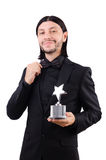 Businessman with star award isolated. On white Stock Image