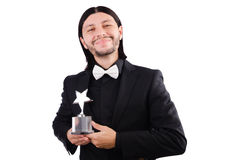Businessman with star award isolated. On white Stock Photos