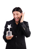 Businessman with star award isolated. On white Royalty Free Stock Images