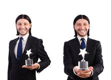 The businessman with star award isolated on white Royalty Free Stock Photos
