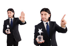 The businessman with star award isolated on white Royalty Free Stock Photo