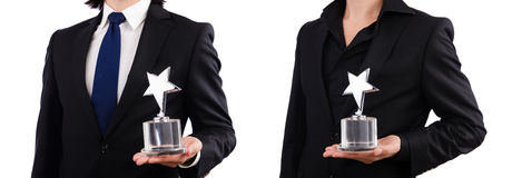 The businessman with star award isolated on white Stock Images