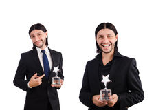 The businessman with star award isolated on white Royalty Free Stock Images