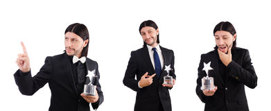 The businessman with star award isolated on white Royalty Free Stock Image