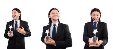 The businessman with star award isolated on white Royalty Free Stock Photography