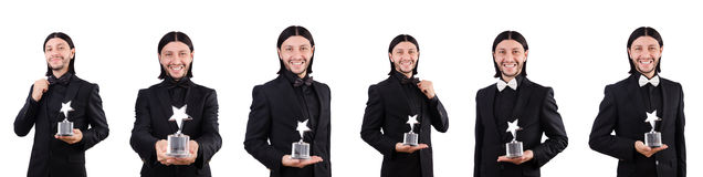 The businessman with star award isolated on white. Businessman with star award isolated on white Royalty Free Stock Image