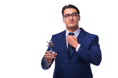 The businessman with star award isolated on white. Businessman with star award isolated on white Royalty Free Stock Photo
