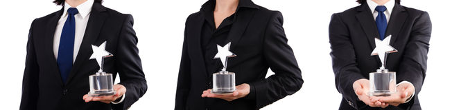 The businessman with star award isolated on white. Businessman with star award isolated on white Stock Photos