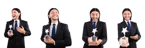 The businessman with star award isolated on white. Businessman with star award isolated on white Royalty Free Stock Images